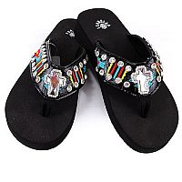 Isabella Multi Colored Aztec Cross Flip Flops            LG-S076BK