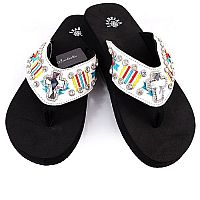 Isabella Aztec White Multi Colored Cross Flip Flops       #LG-S076WH