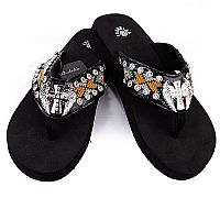 Isabella Aztec Black Orange Cross Wings Flip Flops       #LG-S081BK
