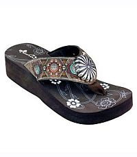 New Montana West Brown Leather Flip Flops  #S144CF