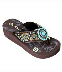 New Montana West Brown Turquoise Flip Flops #S159CFTURQ