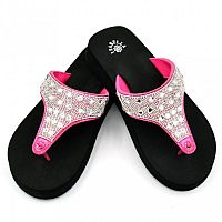 Isabella Rhinestone Hot Pink Flip Flops    #S164PNK