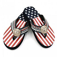 Isabella Rhinestone Fourth of July Flip Flops       #LGS165Flag