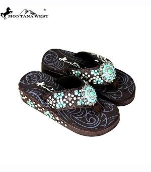 Montana West Brown Flip Flops   #YT-S096CF