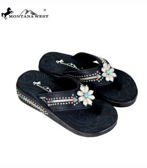 Montana West Black Flower Flip Flops   #YT-S160BK