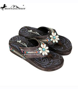 Montana West Brown Flower Flip Flops    #YT-BRS160CF
