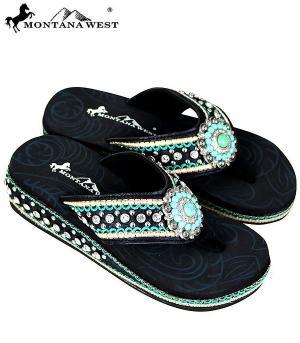 Montana West Black Turquoise Flip Flops   #YT-SE70-S096BK