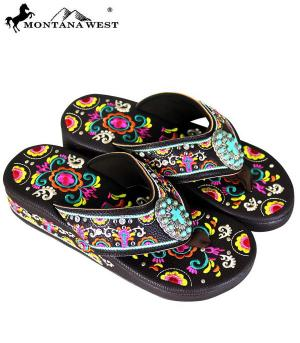 Montana West Brown Embroidered Flip Flops  #YT-SF02-S098CF