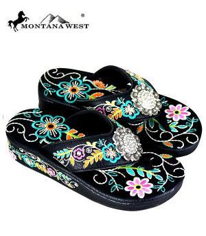 Montana West Black Floral Pink Flower Flip Flops  #YT-SF03-S001