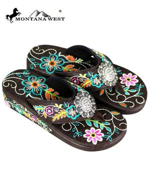 Montana West Brown Floral Pink Flower Flip Flops  #YT-SF03-S001CF