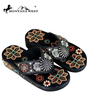 Montana West Black Embroidered Flip Flops  #YT-SF05-S144BK