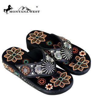 Montana West Black Embroidered Flip Flops  #YT-SF05-S144BK