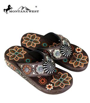Montana West Brown Embroidered Flip Flops  #YT-SF05-S144CF