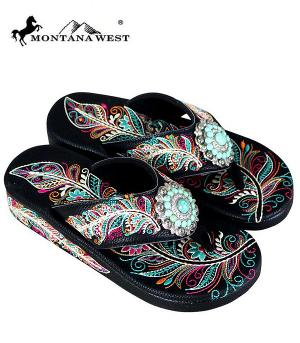 Montana West Black Feather Design Flip Flops  #YT-SF06-S096BK