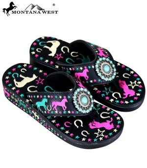 Montana West  Pink Turquoise Horse Flip Flops   #YT-SF07-S144BK