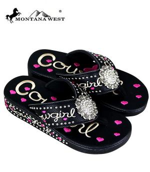 Montana West Black Cowgirl Flip Flops  #YT-SF09-S001BK