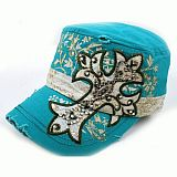 Turquoise Cross Bling Hat