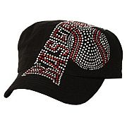 Rhinestone Bling Black Baseball Hat