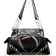 Rhinestone Heart Football Handbag       #SFB-football