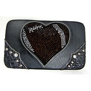 Rhinestone Heart Football Wallet       #SFB-footballwallet