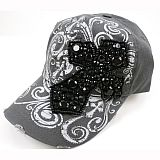 Grey Stone Bling Cross Hat