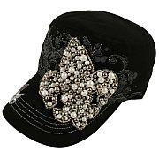 Black  Beaded Fleur De Li's Hat
