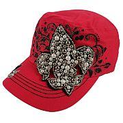 Pink Beaded Fleur De Li's Hat