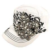 White Beaded Fleur De Li's Hat