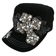 Black Beaded Cross Hat
