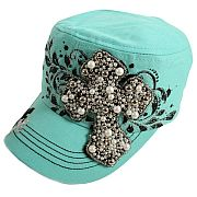 Mint Beaded Cross Hat