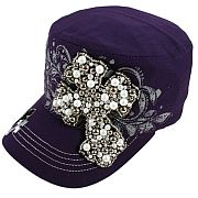 Purple Beaded Cross Hat