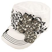 White Beaded Cross Hat