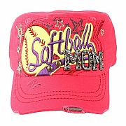 Rhinestone Hot Pink Softball Mom Hat