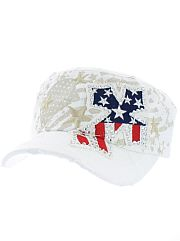 White Red White Blue Rhinestone Cross Hat