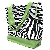 Green Zebra Tote Bag