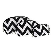 Set of Three Black Chevron Cosmetic Cases