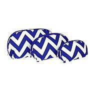 Set of Three Blue Chevron Cosmetic Cases