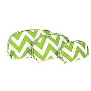 Set of Three Green Chevron Cosmetic Cases