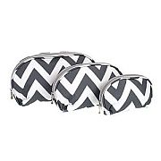 Set of Three Grey Chevron Cosmetic Cases