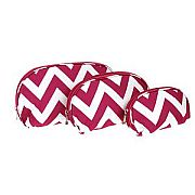Set of Three Hot Pink Chevron Cosmetic Cases