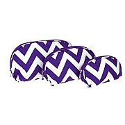 Set of Three Purple Chevron Cosmetic Cases