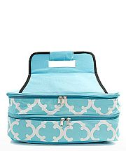 Aqua Quatrefoil Double Food Carrier                   #TTIW-OTG391AQ