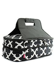 Black Quatrefoil Double Food Carrier               #TTIW-OTG391BLK