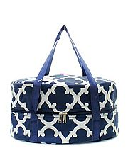 Navy Blue & White Design Crock Pot Carrier               #TTIW-OTG659NVV