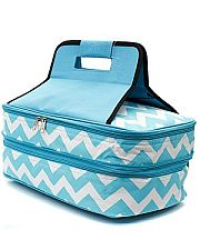 Turquoise Chevron Double Food Carrier                    #TTIW-ZIA391AQ