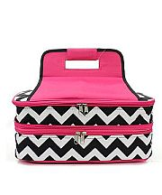 Hot Pink & Black Chevron Double Food Carrier              #TTIW-ZIB391HP