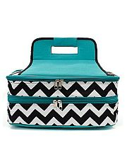 Dark Turquoise & Black Chevron Double Food Carrier         #TTIW-ZIB391TQ