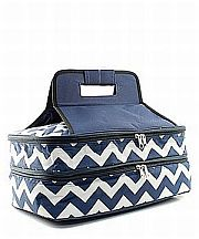 Navy & White Chevron Double Food Carrier                   #TTIW-ZIN391NVY