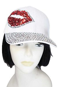 White Rhinestone Red Lip Hat    #FG-whitelip