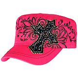 Hot Pink Seed Bead Cross Cadet Cap
